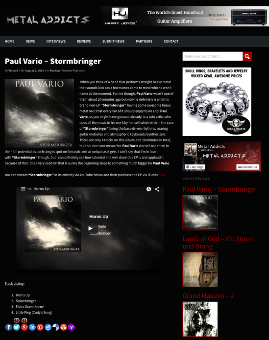 Paul Vario Music Stormbringer Review
